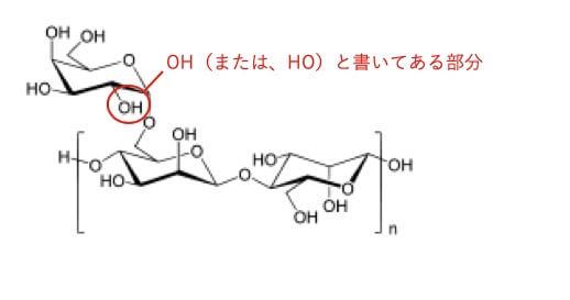 グアーの水酸基の説明の図