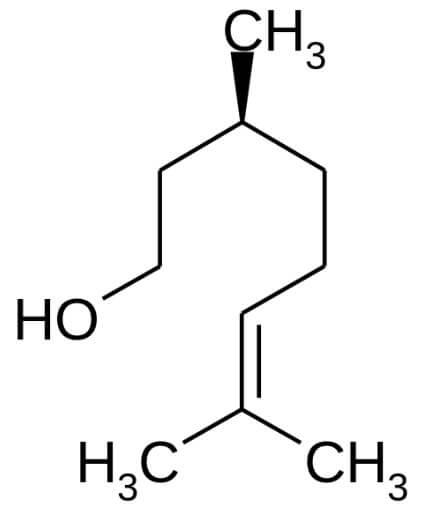 (−)シトロネロールの構造式